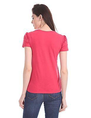 Flying Machine Women Regular Fit Printed T-Shirt