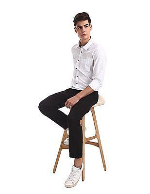Ruggers Black Urban Slim Fit Solid Trousers