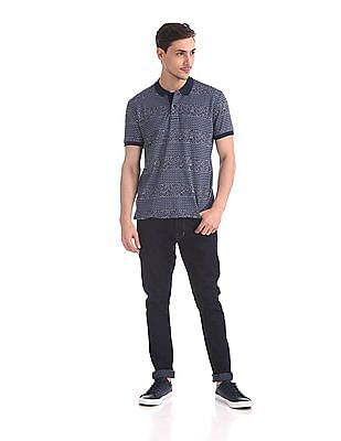 Roots by Ruggers Regular Fit Patterned Polo Shirt