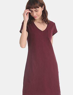 GAP Red Patch Pocket T-Shirt Dress