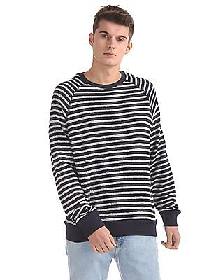 Aeropostale Ribbed Neck Striped Sweatshirt