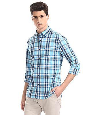 U.S. Polo Assn. Blue Button Down Collar Windowpane Check Shirt