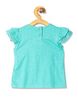 Donuts Girls Lace Short Cap Sleeve Top