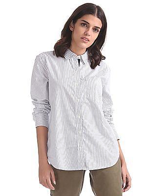 GAP Women White Stripe Boyfriend Shirt