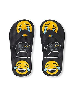 The Children's Place Boys 'Crying Emoji + Video Game Emoji = Laughing Crying Emoji' Flip Flop