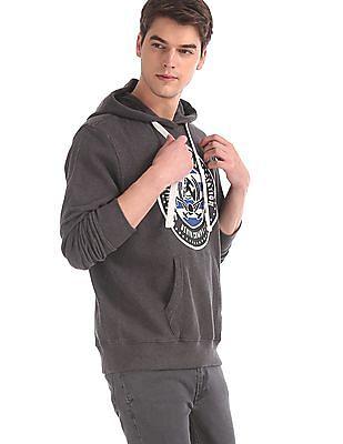 U.S. Polo Assn. Grey Drawstring Hood Brand Print Sweatshirt