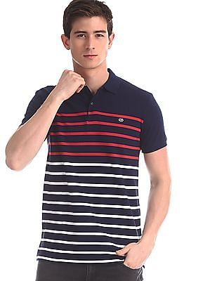 Roots by Ruggers Blue Ribbed Collar Striped Polo Shirt