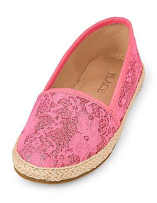 The Children's Place Girls Glitter Lace Espadrille