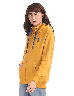 U.S. Polo Assn. Women Yellow Solid Hooded Sweatshirt