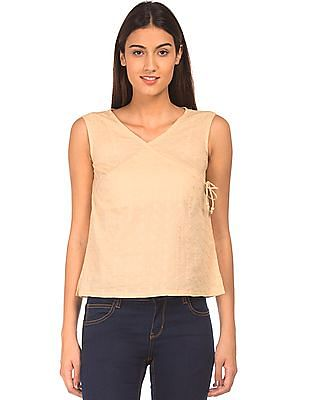 Bronz V-Neck Embroidered Top