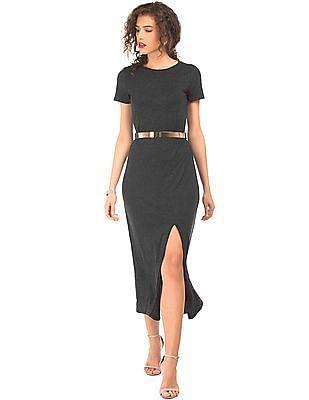 Elle Slit Front Belted Maxi Dress