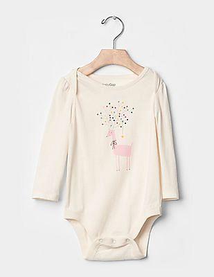 GAP Baby White Festive Graphic Bodysuit
