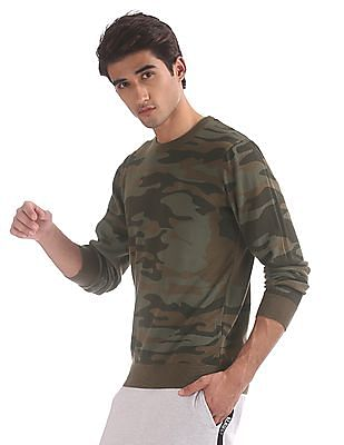 Aeropostale Green Crew Neck Camo Print Sweater
