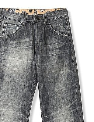 Flying Machine Grey Regular Fit Washed Jeans