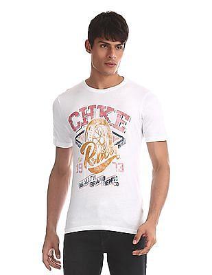Cherokee White Regular Fit Brand Print T-Shirt