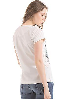 EdHardy Women Rib Cage Print Regular Fit T-Shirt