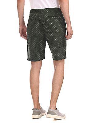 Ruggers Green Regular Fit Printed Shorts