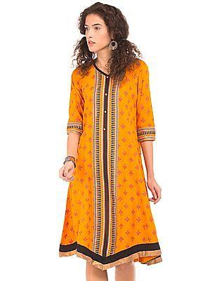 Anahi Printed V-Neck Kalidar Kurta
