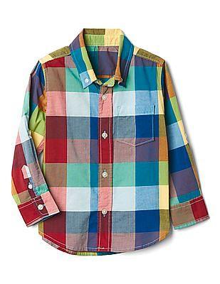 GAP Toddler Boy Check Madras Convertible Shirt