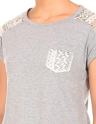 Cherokee Lace Panel Heathered Top