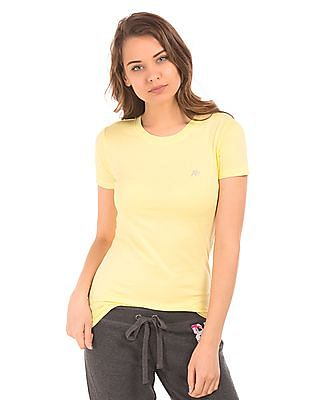 Aeropostale Solid Crew Neck T-Shirt