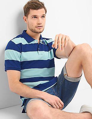 GAP Men Blue Rugby Stripe Pique Polo Shirt In Stretch