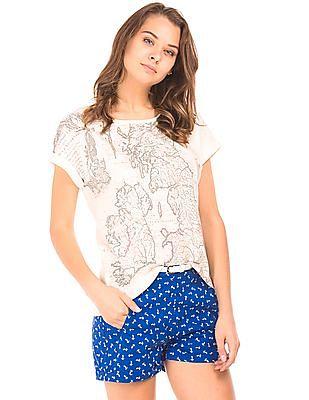 Cherokee Graphic Print Round Neck T-Shirt