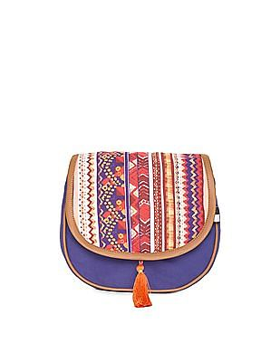 Bronz Printed Flap Canvas Sling Bag