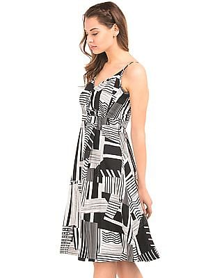 Elle Monochrome Strappy Fit And Flare Dress