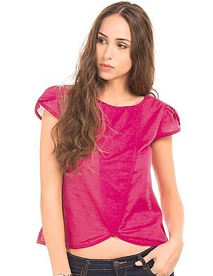 Bronz Patterned Weave Cotton Top