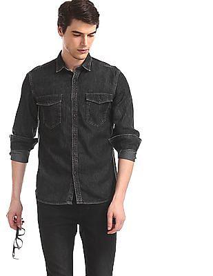 Flying Machine Black Barrel Cuff Denim Shirt