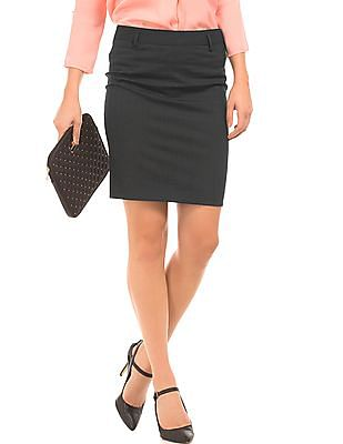 Arrow Woman Striped Regular Fit Pencil Skirt