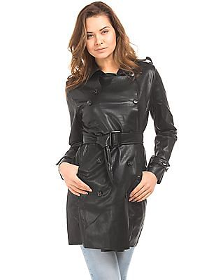U.S. Polo Assn. Women Faux Leather Double Breasted Trench Coat