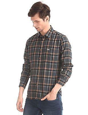 U.S. Polo Assn. Denim Co. Grey Spread Collar Check Shirt