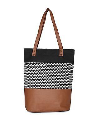 SUGR Black And Brown Panelled Tote Bag