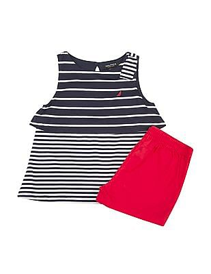 Nautica Kids Girls Twofer Top And Shorts Set
