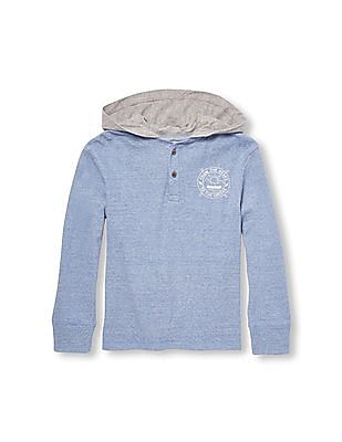 The Children's Place Boys Blue Long Sleeve Sporty Graphic Faux-Layered Hooded Top