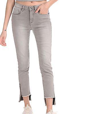 U.S. Polo Assn. Women Grey Skinny Fit High Waist Jeans