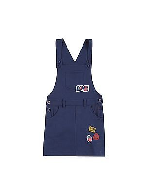 Donuts Girls Appliqued Dungaree Skirt