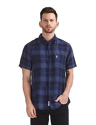 U.S. Polo Assn. Contrast Check Irish Linen Shirt