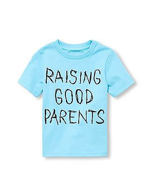 The Children's Place Toddler Boy Short Sleeve 'Raising Good Parents' Graphic Tee