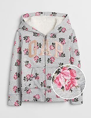 GAP Girls Logo Rose Sherpa Hoodie Sweatshirt