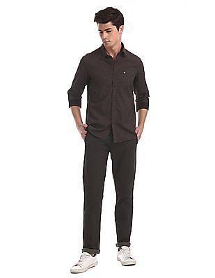 Arrow Sports Brown Printed Slim Fit Shirt