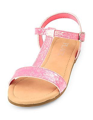 The Children's Place Girls Glitter T-Strap Sandals
