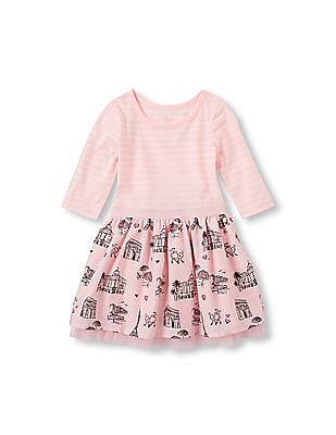 The Children's Place Toddler Girl Long Sleeve Striped And Castle Print Knit To Woven Dress