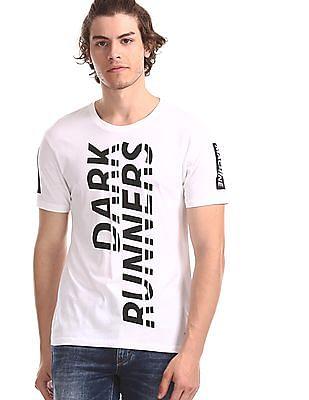Flying Machine White Printed Cotton Jersey T-Shirt