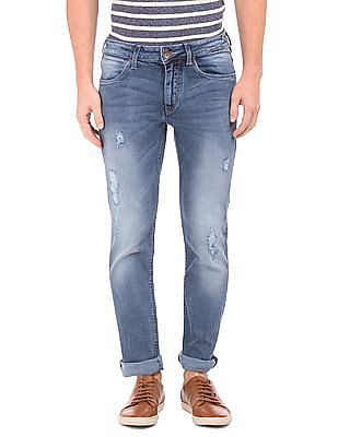 Flying Machine Distressed Slim Tapered Fit Jeans