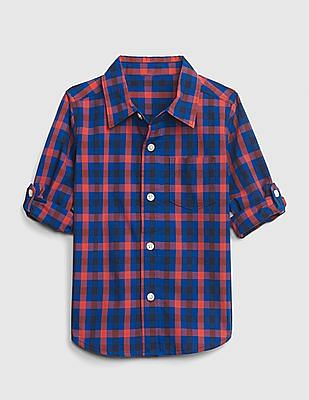 GAP Blue Baby Poplin Convertible Long Sleeve Shirt