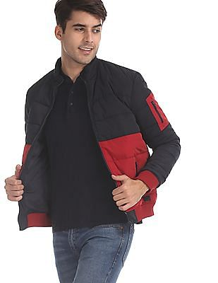 Flying Machine Navy And Red Colour Block Puffer Jacket
