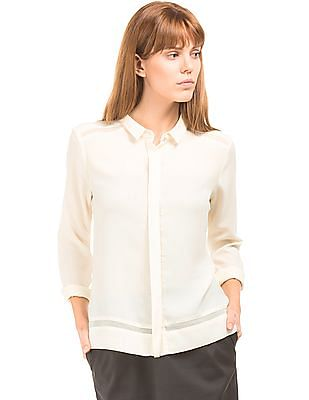 Arrow Woman Mesh Panelled Boxy Shirt